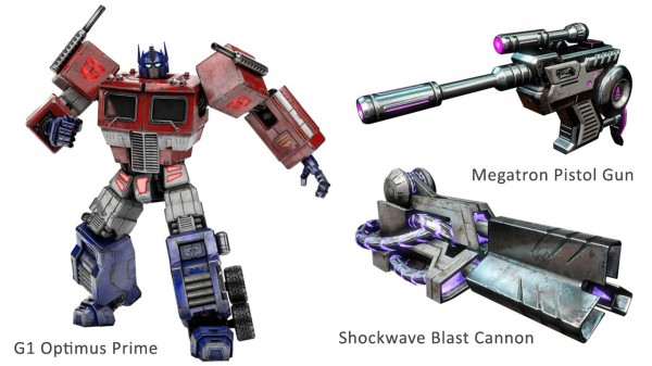 G1 Optimus Prime, Megatron Gun, and Shockwave Cannon