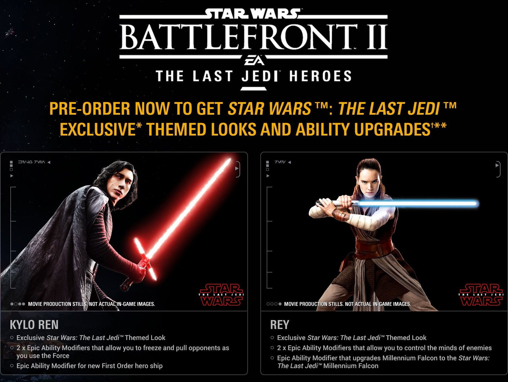 Pre Order Battlefront 2 To Receive Star Wars The Last Jedi Heroes Bonus Content Inspired By Upcoming Movie