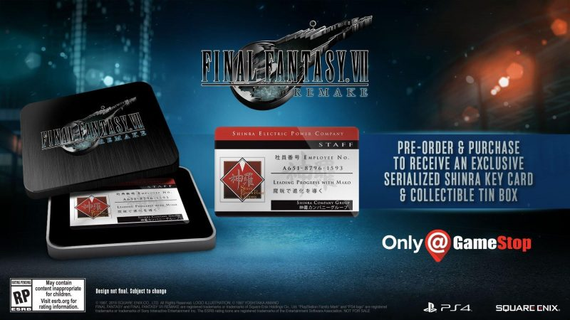 Final Fantasy VII Remake - Shinra Card & Tin Box