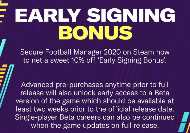 Football Manager 2020 - Early Signing Bonus