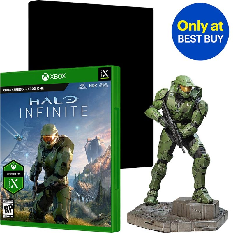 Halo Infinite - Master Chief Statue & SteelBook Case Bundle